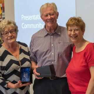 Award winners Rhona and Dave Berry with Cllr Barbara Atkins