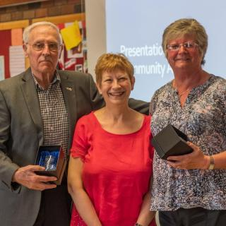 Award winners Alan and Wendy Charles with Cllr Barbara Atkins